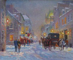 Rue St-Louis sous la neige, 20 X 24 pouces, disponible