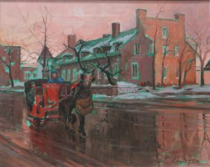 Reflets dans le vieux Montréal, 16 X 20 pouces, disponible